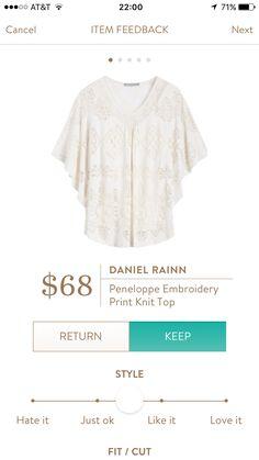 June 2016- Daniel Rainn Peneloppe Embroidery Print Knit Top