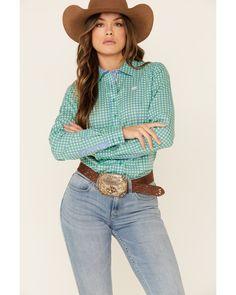 Cinch Women's Green Tile Print Button Front Long Sleeve Western Shirt , Green Country Wear, Print Button, Button Down Collar, Western Shirts, Printed Cotton, Westerns, Tile, Buttons, Long Sleeve