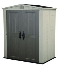 Keter Factor Plastic Outdoor Garden Storage Shed, 6 x 3 feet - Beige