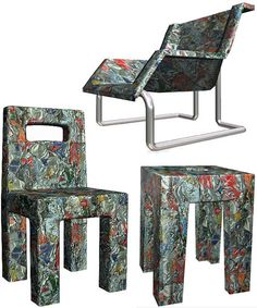 Made of old beer and soda cans crushed into furniture. | Meubels gemaakt van oude bier en frisdrank blikjes.