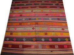 colorful rug turkish rug kilim rug pink rug boho rug by POCCARugs