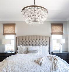 Master Bedroom | Linen Bed |Roman Shades | Cream Bedding| Calming Master Bedroom | Gray Walls |Tufted Headboard |Crystal Chandelier | Designer Juxtaposed Interiors| Restoration Hardware