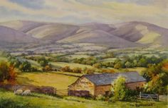 Howgill Fells East Cumbria , Painting of Howgill Fells near Sedbergh in Yorkshire Dales, East Cumbria, England - Watercolor Paintings by Roland Lee