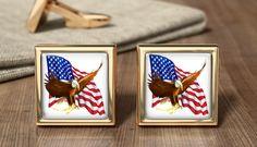 American Freedom Flag Cufflinks - USA American Flag And Eagle Cuff Links - Wedding Cufflinks - Birthday Present - Patriotic American Gift