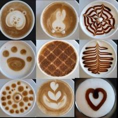 Hot Coffee, espresso, and capuccino drinks made pretty with some froth and even a little chocolate syrup. For special occasions and parties.