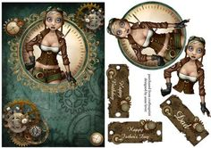 Steampunk Flygirl Father s Day Birthday on Craftsuprint designed by Anne Lever - This lovely topper features a steampunk flygirl looking out of a steampunk embellished frame adorned with clocks and cogs. It has decoupage to add depth and three optional greetings to choose from. The greetings are happy birthday, happy fathers day and dad. This design would be well suited for men and women.  - Now available for download!