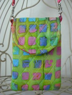 Cell Phone Gadget Case Detachable Neck Strap Quilted by Sewtype, $17.00