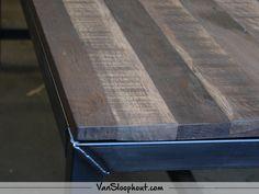 Mangolook tafelblad met een stalen frame als tafelpoot! #mangolook #tafelbladen #interieur #interior #mangohout #industrieel #industrial #staal #frame #tafelpoot #furniture #meubels #robuustwonen #wonen #vtwonen #horeca #kantoor #inspiratie