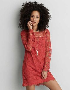 AEO Lace Shift Dress , Rust   American Eagle Outfitters