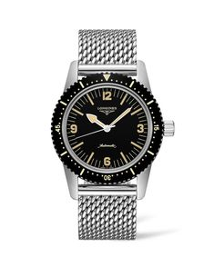 Longines Skin Diver Watch with milanaise bracelet Foot Bracelet, Mesh Bracelet, Metal Bracelets, Bracelet Watch, Stainless Steel Mesh, Stainless Steel Bracelet, Gents Watches, Watches For Men, Retro Vintage