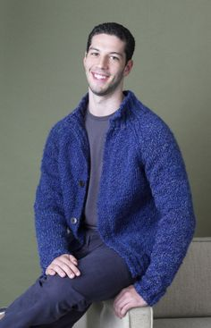 free classic men's cardigan on Lion Brand; yarn is Weight Category: 5 -   Bulky Weight: Chunky. knit in 3 pieces    CHRIS