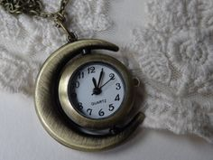 1 Vintage Gold Sun and Moon Pocket Watch Necklace by BuyDiy, $9.98
