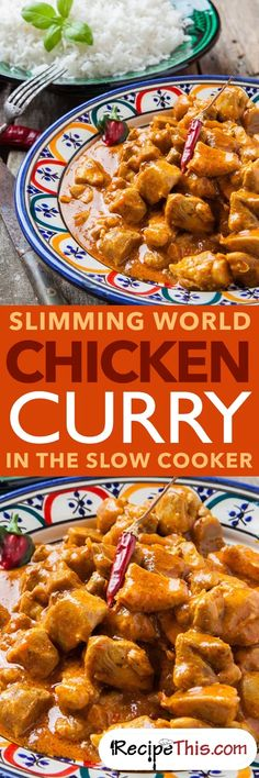 Welcome to my Slimming World Chicken Curry recipe In The Slow Cooker. Delicious creamy mild chicken curry slow cooked in the crockpot and then served with… Slimming World Curry, Slow Cooker Slimming World, Slimming World Recipes Syn Free, Slow Cooker Recipes, Cooking Recipes, Healthy Recipes, Oven Recipes, Crockpot Meals, Recipes