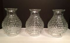 VINTAGE CLEAR GLASS HOBNAIL GLASS GLOBE SHADE LAMP FENTON SET OF 3