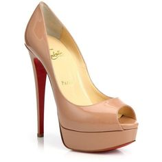 Christian Louboutin Lady Peep Patent Leather Platform Pumps (€830) ❤ liked on Polyvore featuring shoes, pumps, heels, saltos, louboutin, high heel shoes, nude patent pumps, high heel platform pumps, peep-toe pumps and nude platform pumps