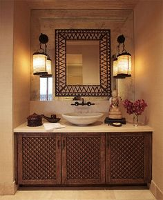 Indian Fantasy, Celebrity Home Tour, Celebrity home interiors, home décor, Indian Interiors, Cher's home in LA, Designer Martin Lawrence Bullard Creations, powder room