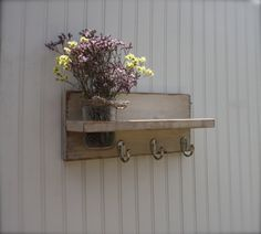 12 Painted Wall Shelf with Hooks and Mason Jar Vase by kateandcass, $28.00