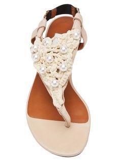 Flat sandals in shell from Lanvin Vault Flat Sandals, Flats, Pearl Shoes, Designer Sandals, Huaraches, Bottega Veneta, Lanvin, Summertime, Shells