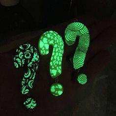 Glow in the dark glass pendantFused glass question mark pendant, glow in the dark pendant,  glow in the dark question mark pendant