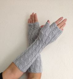 Grey  extra Long Fingerless Gloves Armwarmers  Hand Knit Chic Winter Accessories Winter Fashion,