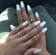 Tag For White : 26 Winter Acrylic Nail Designs Ideas Design Trends coffin nails matte white - Coffin Nails White Coffin Nails, White Acrylic Nails, Best Acrylic Nails, Acrylic Nail Designs, White Manicure, White Acrylics, Fake Nails White, White Summer Nails, Matte White Nails