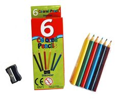 Six 6 color pencils including pencil sharpener all packed into an artful box. Your logo is on the back of box as part of the design. For kids art sets, painting, cutting, coloring, coolers, lunch bags, backpacks, pencil cases, totes, etc. Child safe. Great promotional item for kids; gym, fitness, day care, camps, travel, health care, sport, hospitals, schools, banks, trade shows handouts, gifts, and the outdoors.