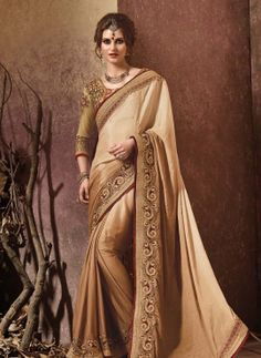 Beige exclusive crepe silk Indian wedding saree with blouse