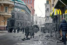 Wartime photo montage shows Helsinki in different light Places Around The World, Around The Worlds, Photo Merge, Night Shadow, Beautiful Places To Live, Helsinki, Photomontage, Capital City, Historical Sites