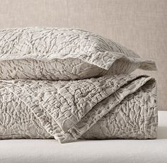 Restoration Hardware Botanical Matelassé Washed Cotton-Linen Coverlet