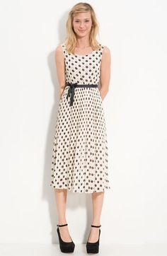 Dee Pleated Polka Dot Chiffon Dress $57.37 How cute is this?!?!