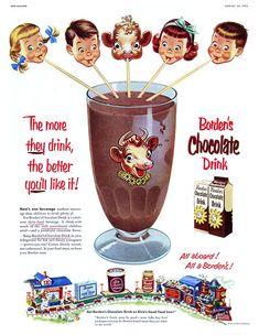 Vintage chocolate ad for Borden Photo Vintage, Vintage Ads, Vintage Images, Vintage Prints, Vintage Posters, Vintage Food, Retro Food, Vintage Photographs, Vintage Signs