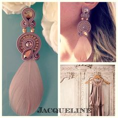 Veronique Creazioni Macrame Earrings Tutorial, Soutache Tutorial, Beaded Bracelet Patterns, Feather Earrings, Diy Earrings, Earrings Handmade, Handmade Jewelry, Pink Jewelry, Tassel Jewelry