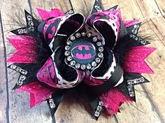 Pink Batman Inspired Hair Bow / Pink Batgirl Boutique Stacked Bow w/ Bottle Cap - 5 inch on Etsy, $9.00