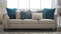 Teal and Cream Throw Pillows