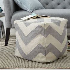 Lively in pattern and small in scale, our Zigzag Mini Pouf's punchy chevron motif is woven in a plush cotton.