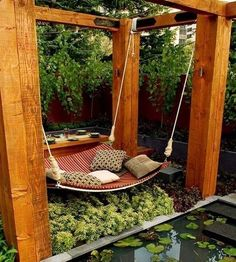 DIY backyard hammock.