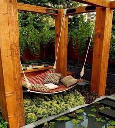 DIY backyard hammock.