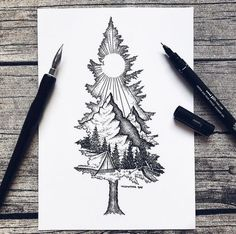 Except with birdseye as the mountain ❤ tattoo ideas idei tatuaje, t Sketch Tattoo Design, Tattoo Sketches, Drawing Sketches, Art Drawings, Tattoo Designs, Pencil Drawings, Drawing Ideas, Tattoo Illustrations, Tattoo Drawings Tumblr