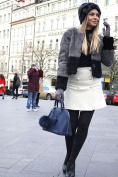 silvian heach, fur coat, fur hat, pinko, skirt, louis vuitton, alma pm bag, booties, zara