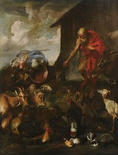 The Animals Entering Noah's Ark, oil on canvas painting by Giovanni Benedetto Castiglione