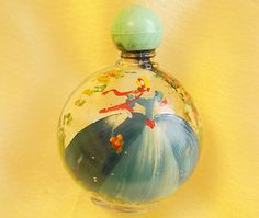 Pretty Vintage Small Hand Painted Glass Crinoline Lady Perfume Scent Bottle | eBay