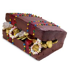 Treasure chest cake instead of a dragon? maybe protected by large toy dragon? 47 days left! Must decide!