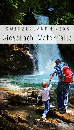 Beautiful waterfalls near Interlaken Switzerland with a short hike to a closer view and even walk under the falls. Kids will like the ferry boat and funicular ride that take you to the falls.