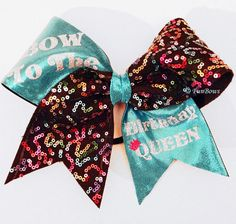 BOW To the Birthday Queen ! Birthday Cheer Hairbow Allstar size - custom available on Etsy, $17.00