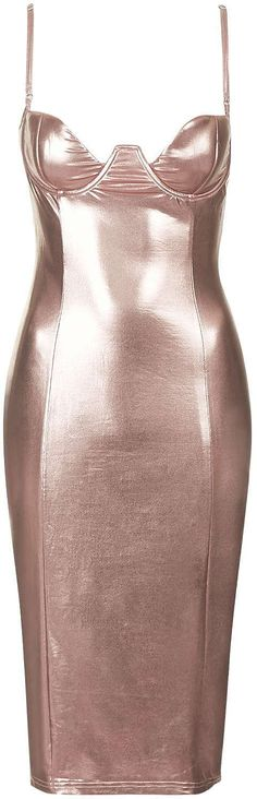 Womens rose gold midi dress from Topshop - £55 at ClothingByColour.com