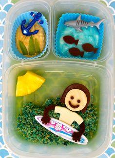 Surfboarding and a shark summer bento lunch box