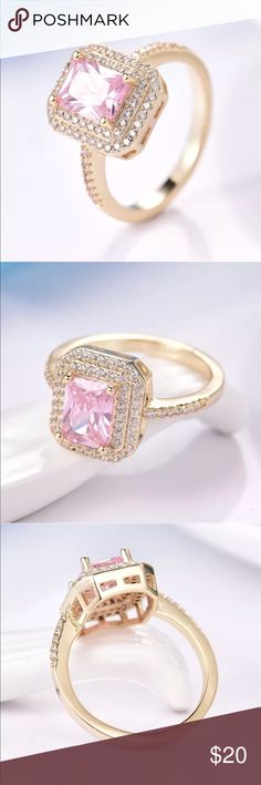"""18k gold pink sapphire cocktail ring Beautiful and feminine.  This 18k yellow gold filled ring has a center pink sapphire surrounded by 75 white sapphires . The center stone is approx 1/2"""" . Brand new and comes boxed . Jewelry Rings"""