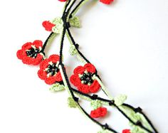 Oya Crochet Necklace Red Flowers Beaded Lariat Necklace Jewelry Green Leaves Jewellery, Beadwork, ReddApple, Delivery in 1-5 Days