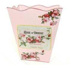 French Floral Decor Wastebasket Trashcan Trash Holder Basket or Bin  E82 Wave Edge Vintage Pink Metal Waste Basket with Hand Decoupage Old French Soap Label ** Be sure to check out this awesome product.