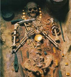 According to historians, in 1972 after a tractor accidentally unearthed a stunning Chalcolithic cemetery near {Bulgaria's port city} Varna, archaeologists discovered the oldest gold treasure in the world c. 4500-4000 BC.   This 6,000-year-old skeleton was once an important ruler in the ancient Balkans. His grave was excavated along with 300 other burials, stocked with over 3,000 gold artifacts:  the oldest hoard of gold ever found in the world.